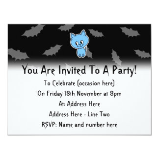 Cute Blue Cat and Bats. Personalized Announcement