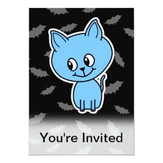 Cute Blue Cat and Bats. Custom Invite