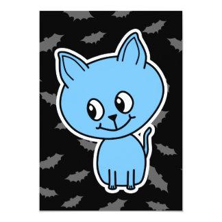 Cute Blue Cat and Bats. Card