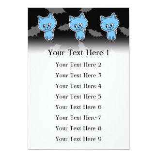 Cute Blue Cat and Bats. Invitation