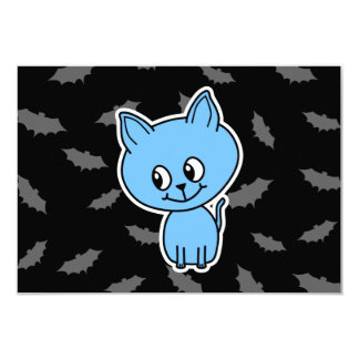 Cute Blue Cat and Bats. Personalized Invitation
