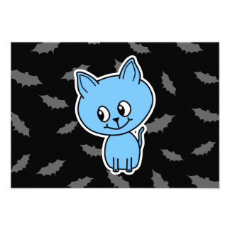 Cute Blue Cat and Bats Personalized Invitation