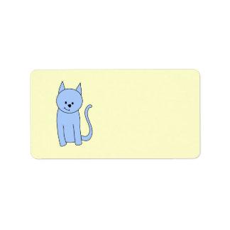Cute Blue Cat Cartoon Address Label