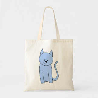 Cute Blue Cat Cartoon Tote Bag