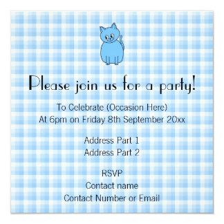 Cute Blue Cat. 5.25x5.25 Square Paper Invitation Card
