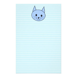 Cute Blue Cat. Light blue stripe background. Stationery