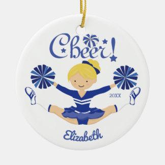 Cute Blue Cheer Blonde Cheerleader Personalized Round Ceramic Decoration
