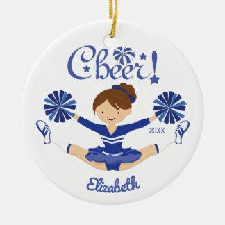 Cute Blue Cheer Brunette Cheerleader Ornament
