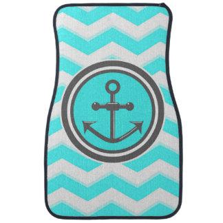 Cute Blue Chevron Pattern Anchor Smile Floor Mat