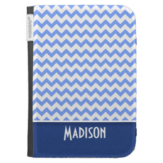 Cute Blue Chevron Pattern Kindle Folio Cases