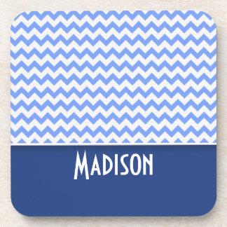 Cute Blue Chevron Pattern Coasters
