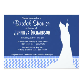 "Cute Blue Chevron Pattern 5"" X 7"" Invitation Card"