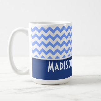 Cute Blue Chevron Pattern Mug