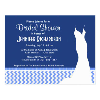 Cute Blue Chevron Pattern Post Card