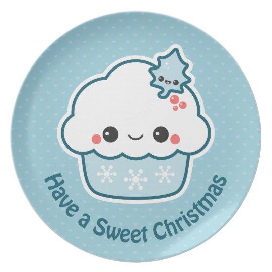 Cute Blue Christmas Cupcake Plate