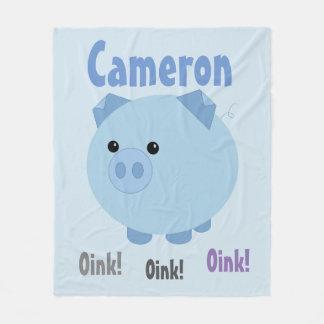 Cute Blue Chubby Pig Fleece Blanket