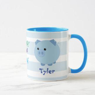 Cute Blue Chubby Pig Mug