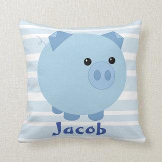 Cute Blue Chubby Pig Pillow