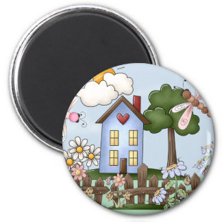 Cute Blue Country House in the Sunshine Fridge Magnets