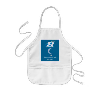 Cute Blue Cow Jumping Over The Moon Apron