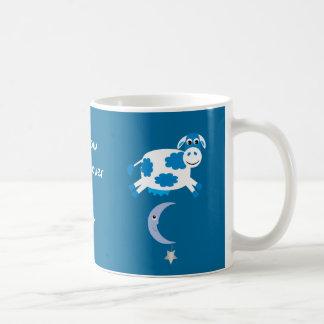 Cute Blue Cows Jumping Over The Moon Basic White Mug