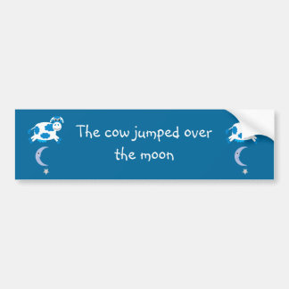 Cute Blue Cows Jumping Over The Moon Car Bumper Sticker