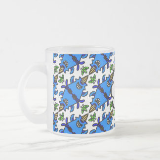 Cute Blue Cyclops Monster and Bird pattern Frosted Glass Mug