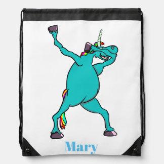 Cute Blue Dabbing Unicorn Drawstring Bag