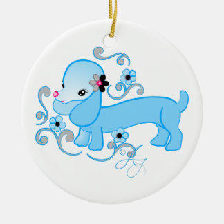 Cute Blue Dachshund Christmas Ornament