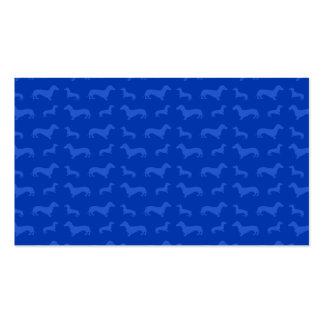 Cute blue dachshund pattern business card template