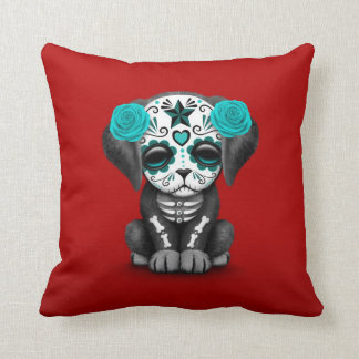 Cute Blue Day of the Dead Puppy Dog Red Throw Pillow