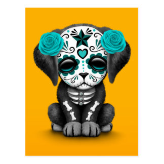 Cute Blue Day of the Dead Puppy Dog Yellow Postcard
