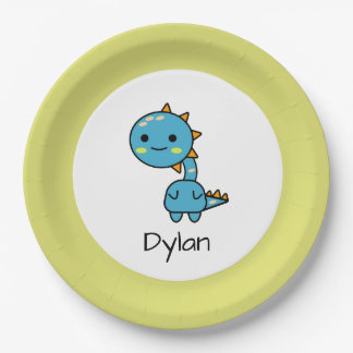 Cute Blue Dinosaur Cartoon Birthday Paper Plate