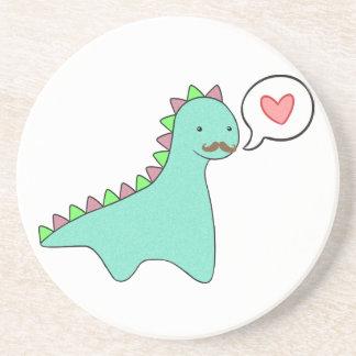 Cute Blue Dinosaur Mustache Coaster