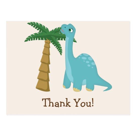 Cute Blue Dinosaur Thank You Postcard