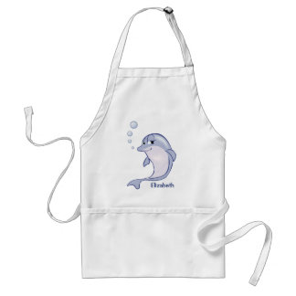 Cute Blue Dolphin To Personalize Standard Apron