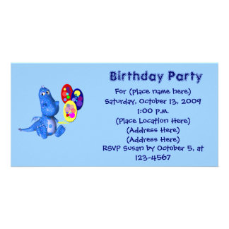 Cute Blue Dragon Balloons Birthday Invitation Picture Card
