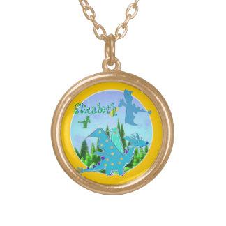 Cute Blue Dragon Round Pendant Necklace