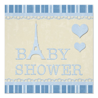 Cute Blue Eiffel Tower and Hearts Baby Shower 13 Cm X 13 Cm Square Invitation Card