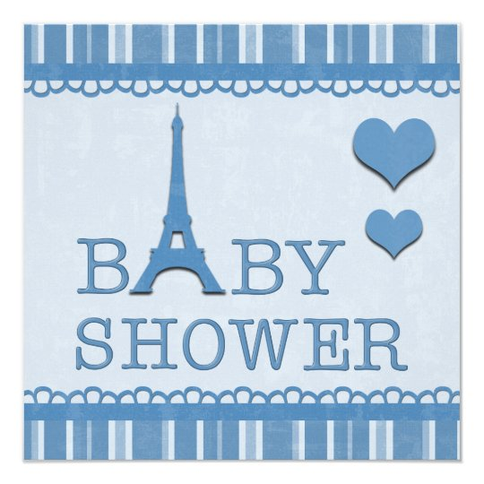 Cute Blue Eiffel Tower and Hearts Baby Shower Card