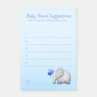 Cute Blue Elephant Baby Boy Shower Suggest Name Post-it Notes