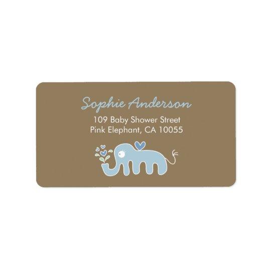 Cute Blue Elephant Baby Shower Address Labels