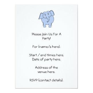 Cute Blue Elephant Cartoon. 17 Cm X 22 Cm Invitation Card