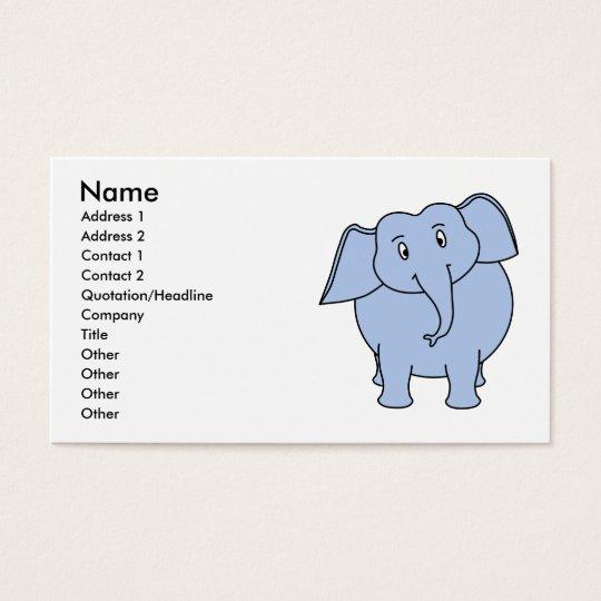 Cute Blue Elephant Cartoon. Business Card