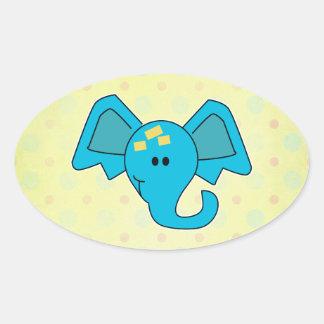 Cute Blue Elephant Face Stickers