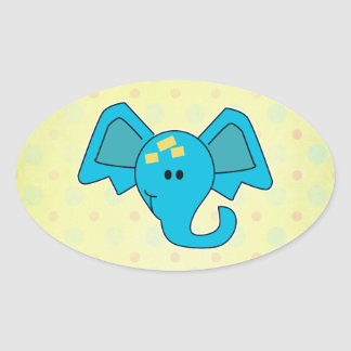 Cute Blue Elephant Face Stickers