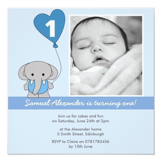 Cute Blue Elephant Photo First 1st Birthday Party