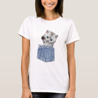 CUTE BLUE EYED KITTEN IN A POCKET WAVING T-Shirt