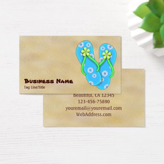 Cute Blue Flip Flop with Flowers on Sand