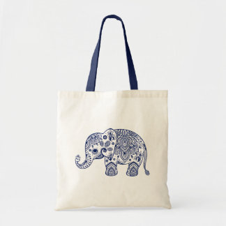 Cute Blue Floral Paisley Elephant Illustration. Budget Tote Bag